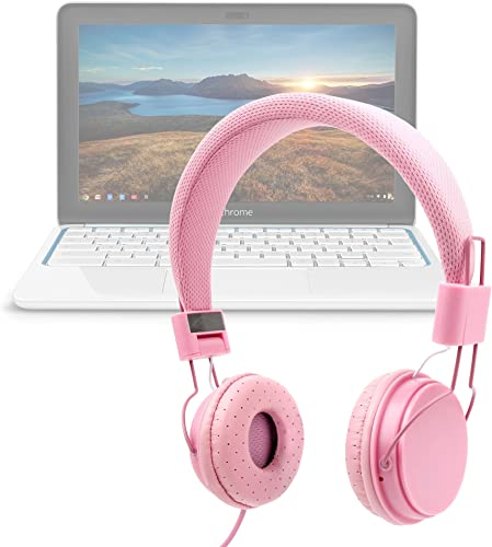 DURAGADGET Pink Ultra-Stylish Kids Fashion Headphones w Padded Design Microphone – Suitable for Use with HP Chromebook 11 G2-Exynos 5250 11.6-Inch Laptop