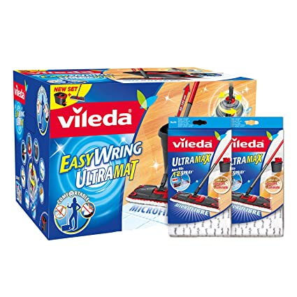 Vileda Easy Wring Ultramat Flat Mop And Bucket With Power Spin Wringer And Vileda Ultramax1 2 Spray Microfibre Refill Pack Of 2