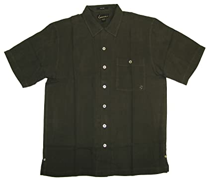 a9ffdea8a07d Rock On Guitar Men's Embroidered Silk Herringbone Weave Woven Shirt in  Olive - M