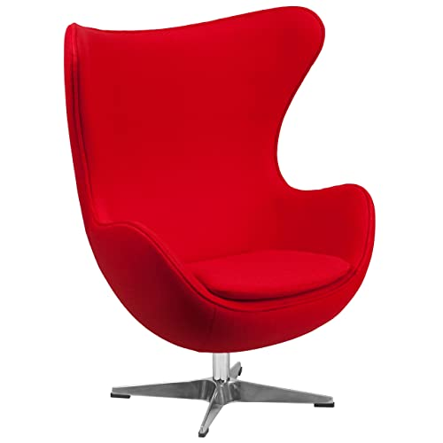 Flash Furniture Red Wool Fabric Egg Chair with Tilt-Lock Mechanism