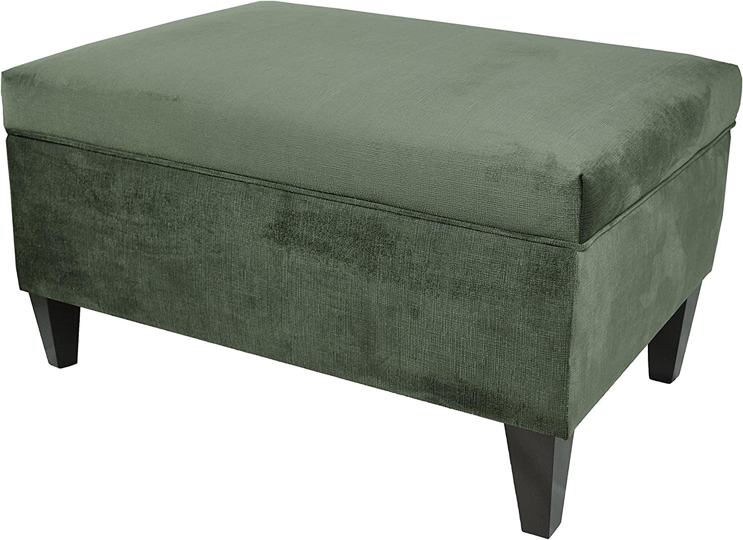 MJL Furniture Designs Brooklyn Collection Large Upholstered Living Room Lift Top Storage Ottoman, Ennis Series, Pewter
