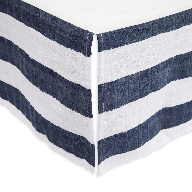 Little Unicorn Cotton Muslin Crib Skirt - Navy Stripe by Little Unicorn (Image #1)