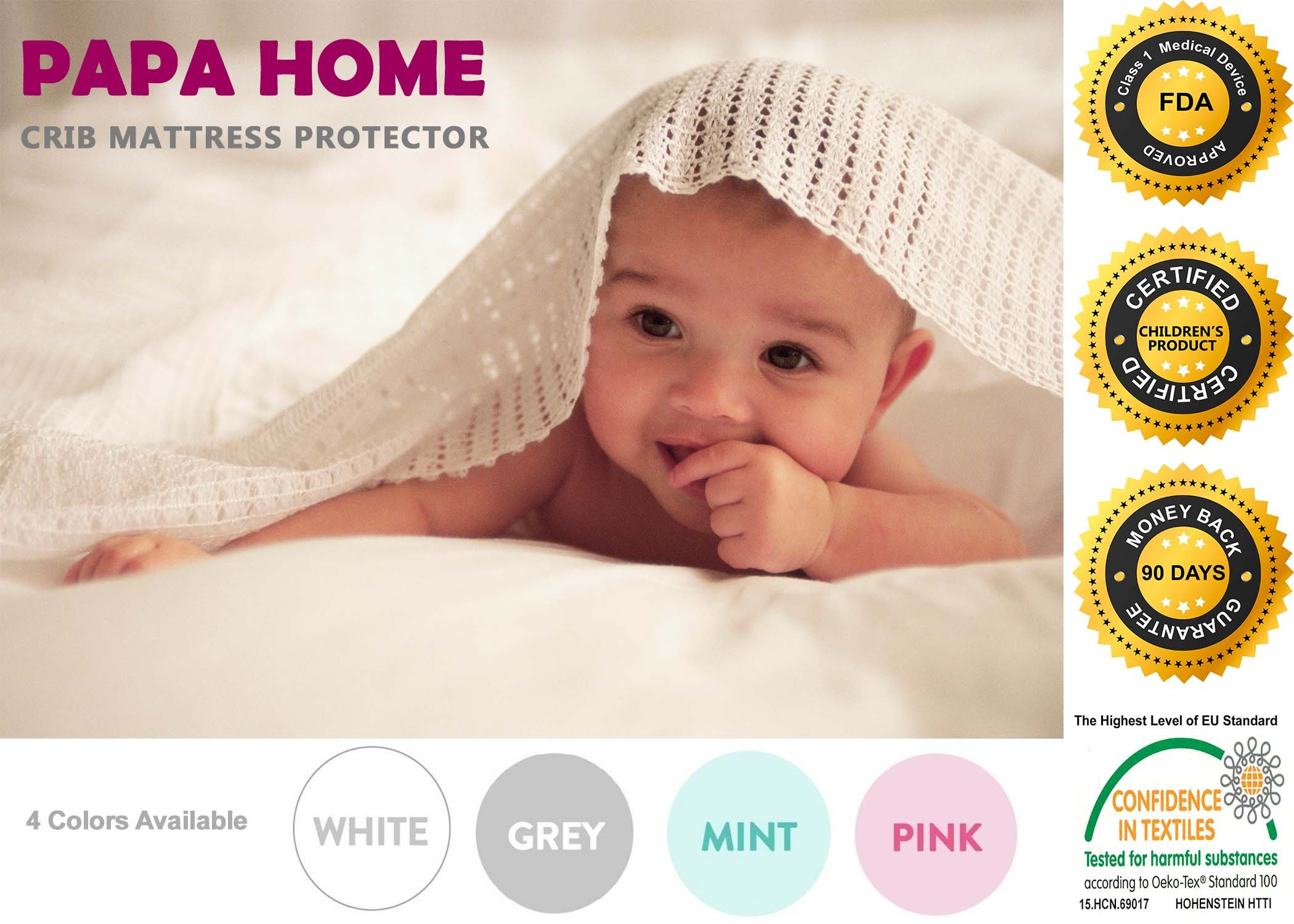 Papahome Premium Hypoallergenic Crib Mattress Protector - Lab Tested Waterproof - Fitted Cotton Terry Cover - Vinyl Free - 10 Year Warranty (Crib, White)
