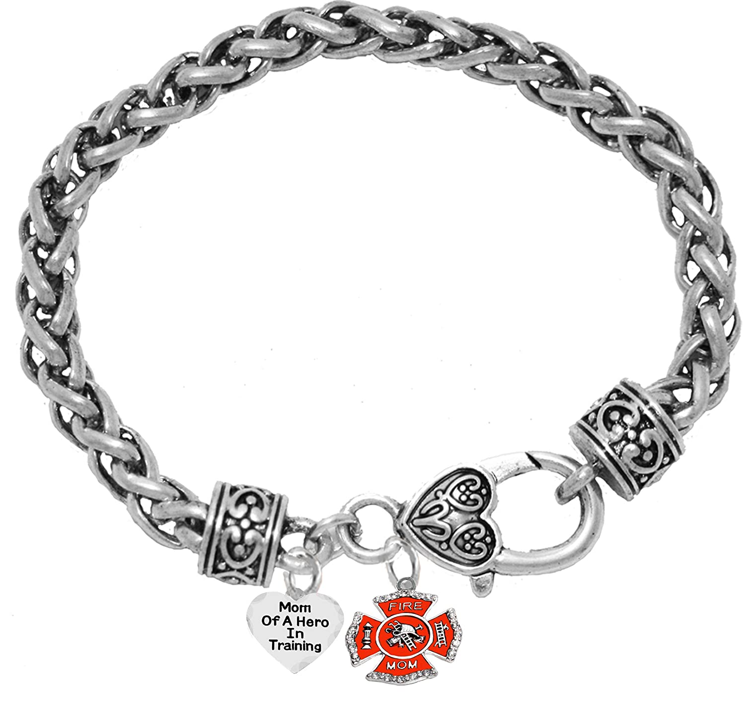On A Antique Genuine Red Leather Bracelet Mom of A Hero in Training Lead and Cadmium Free Hypoallergenic Safe-Nickel Fire Department Charm Cardinali Jewelry Firefighter