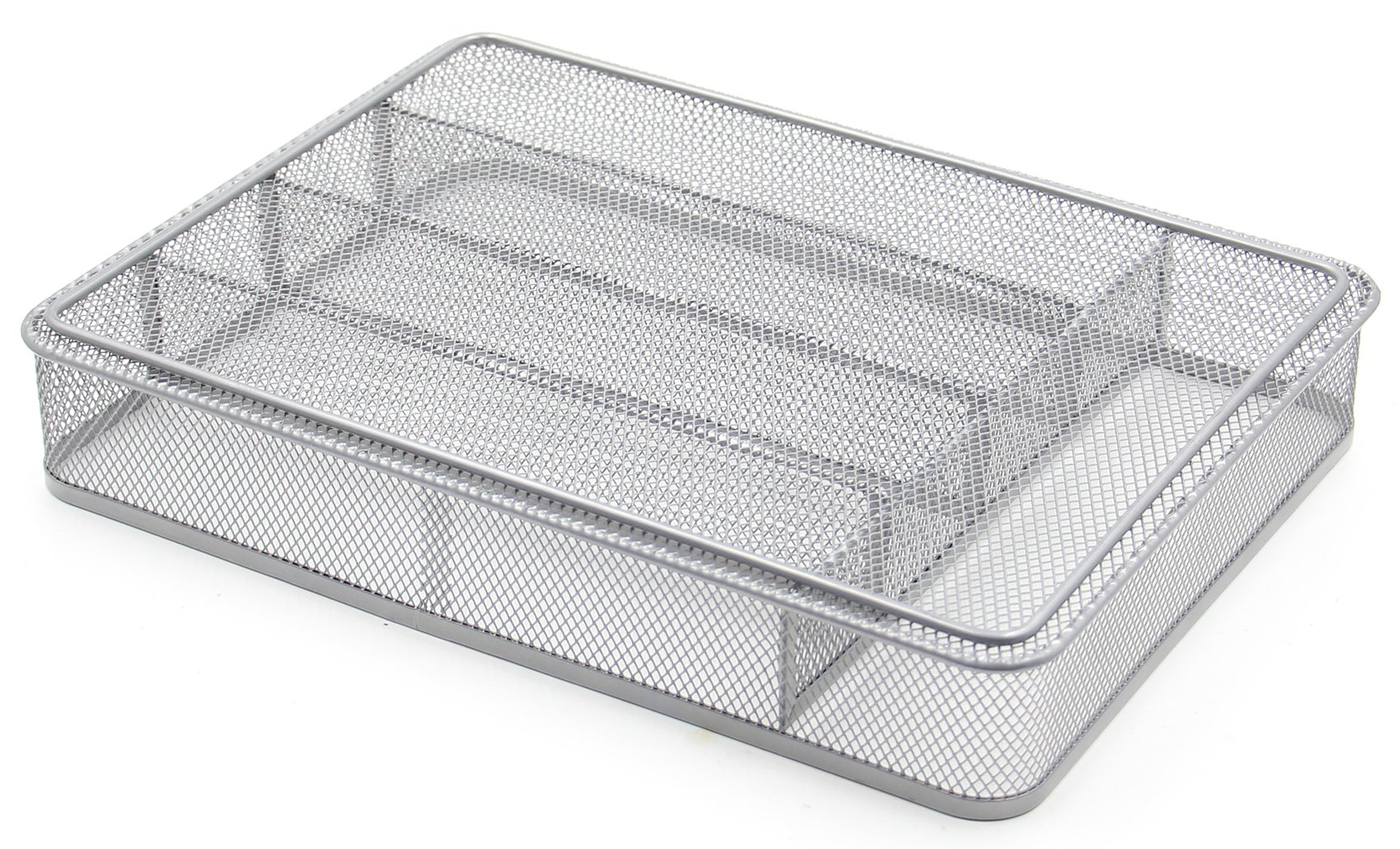 ESYLIFE 5 Compartment Mesh Kitchen Cutlery Trays Silverware Storage Kitchen Utensil Flatware Tray, Silver by Esy-Life (Image #6)