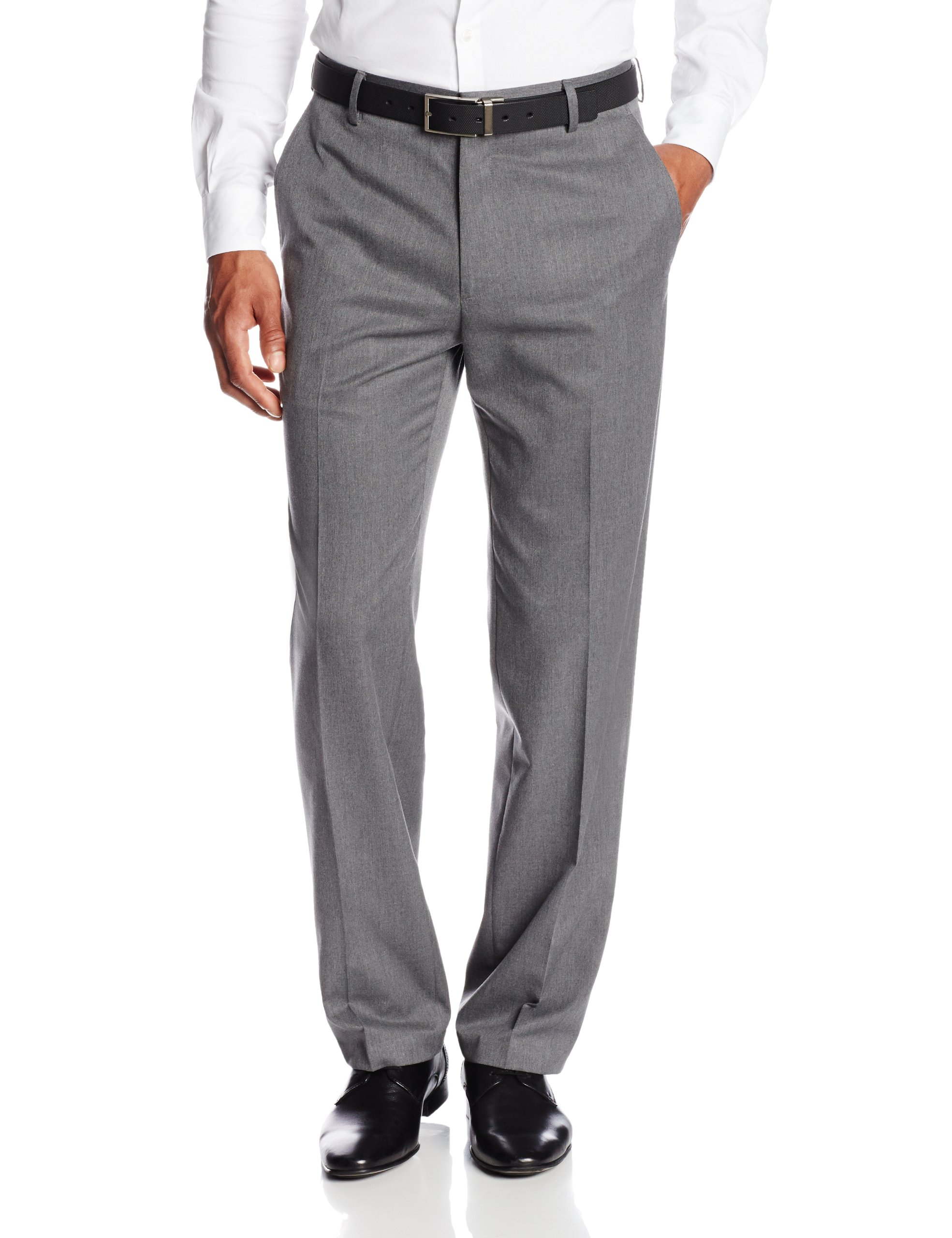 Haggar Men's Gabardine Tailored-Fit Flat-Front Suit-Separate Pant, Dark Grey, 34Wx29L
