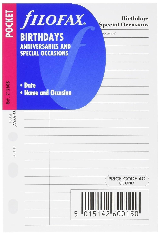 Filofax Pocket - Recambio para agenda de anillas, cumpleaños, aniversarios y ocasiones especiales (en inglés): Amazon.es: Oficina y papelería