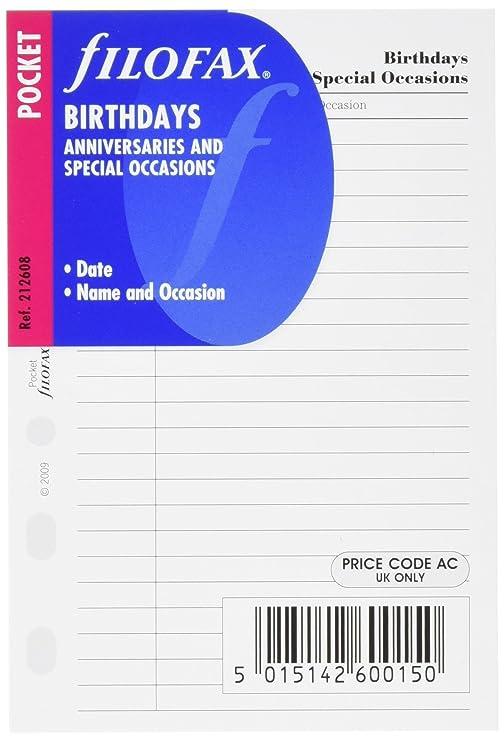 Filofax Pocket - Recambio para agenda de anillas, cumpleaños, aniversarios y ocasiones especiales (en inglés)