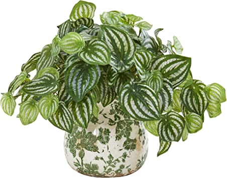 Nearly Natural Watermelon Peperomia Artificial Vase Real Touch Silk Plants Green Furniture Decor