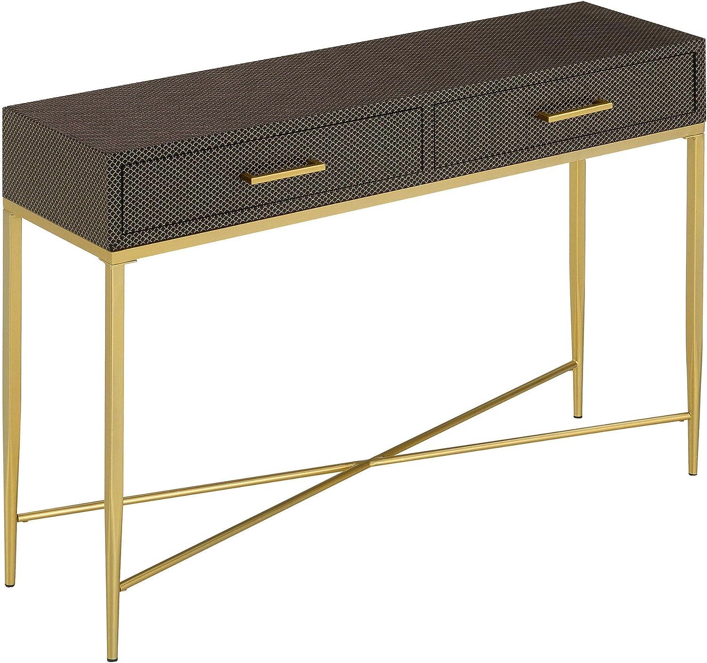 Convenience Concepts Ashley Console Table Black Scallop//Gold