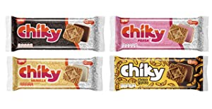 Pozuelo Chiky Cookies Variety Bundle | Includes Chocolate, Strawberry, Vanilla & Chocobanano | Crispy Cookies Filled with Fudge | Delicous Creamy Flavors from Costa Rica | 16.9 Oz (Pack of 4)
