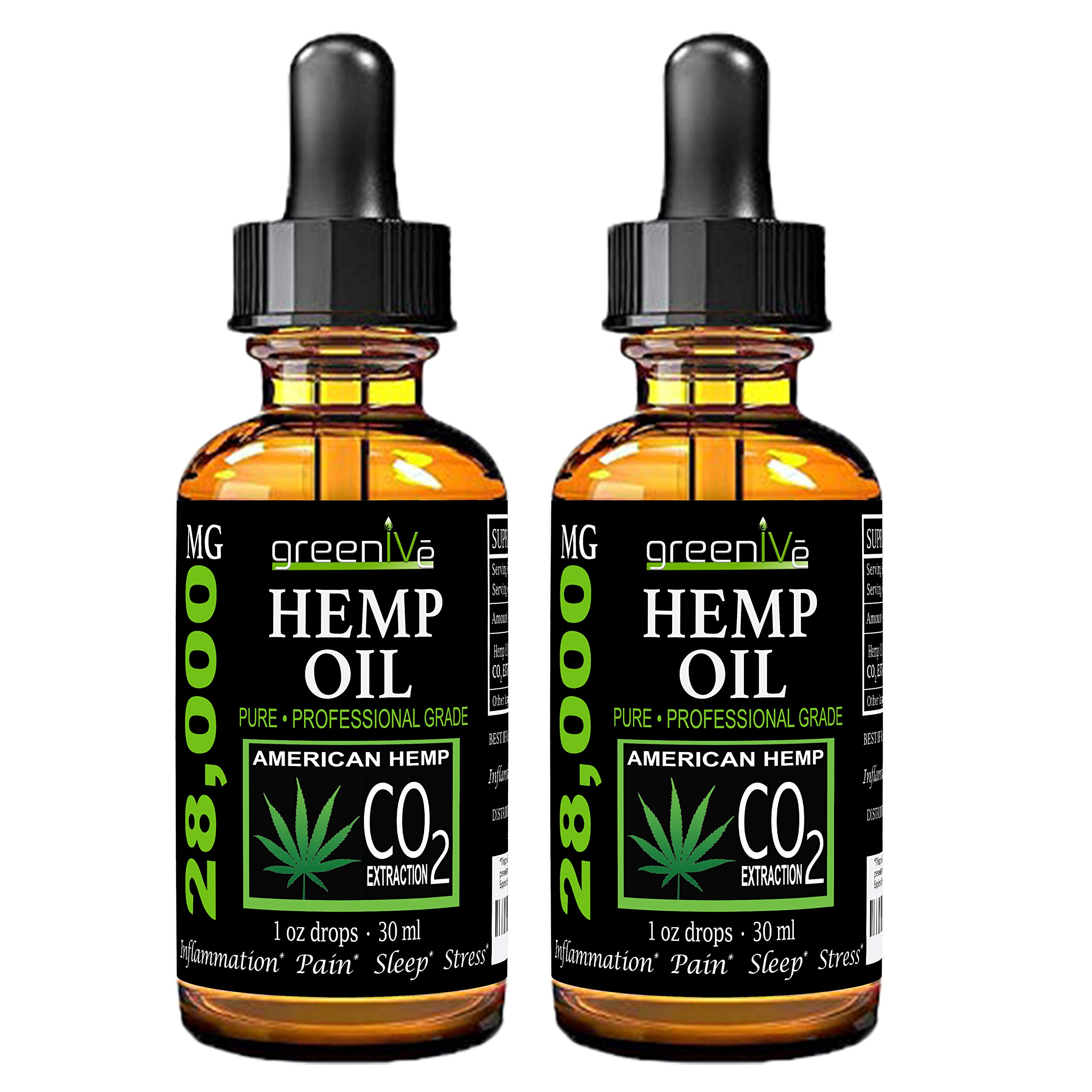 (2 Pack) GreenIVe 28,000mg Hemp Oil Anti-Inflammatory, Rapid Pain Relief, Stress Reducer, Vegan Omegas C02 Extraction Exclusively on Amazon (2 Pack) by Greenive