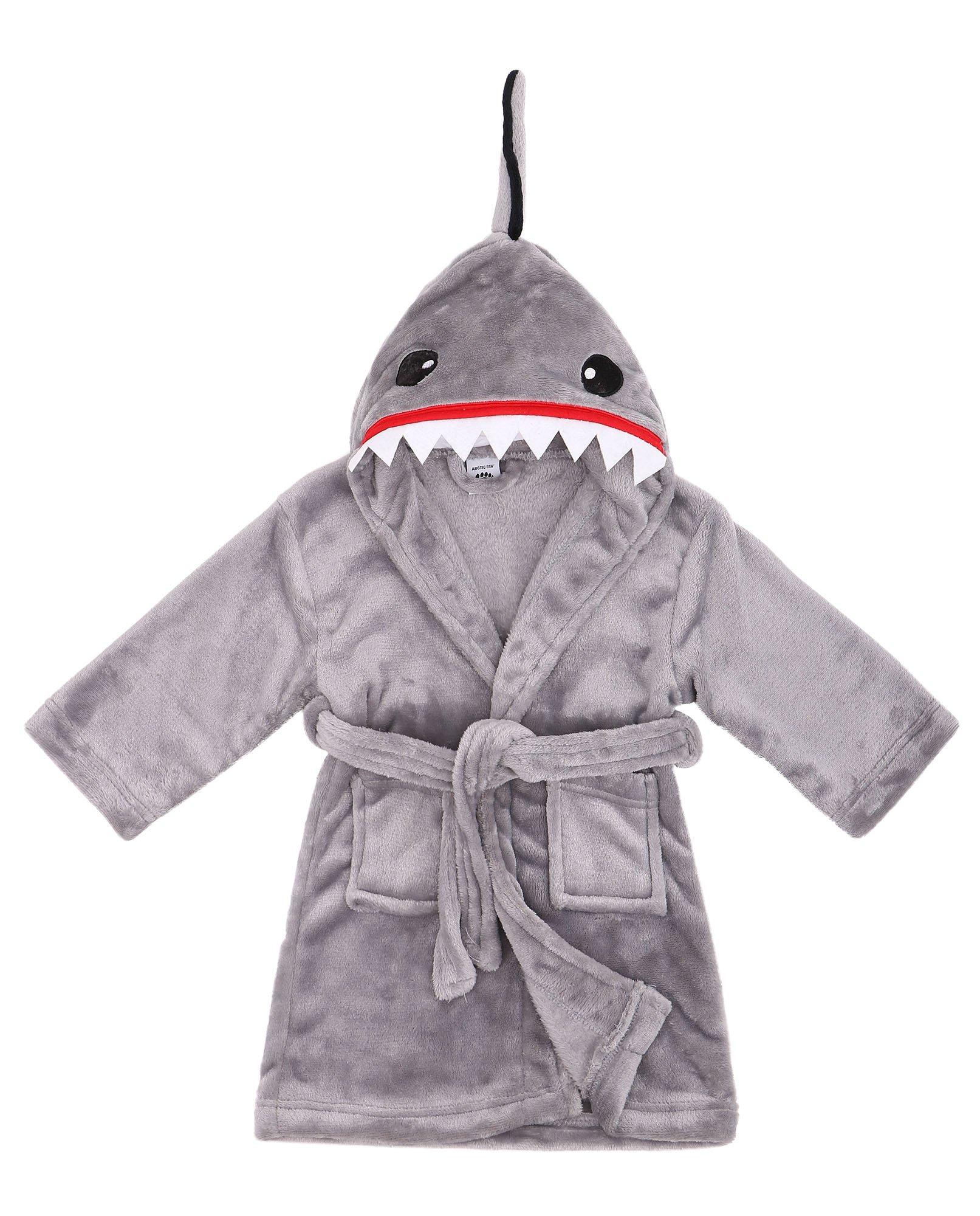 Boys Robe Animal Plush Soft Hooded Fleece Bathrobe,Shark Grey,S(1-3 Years