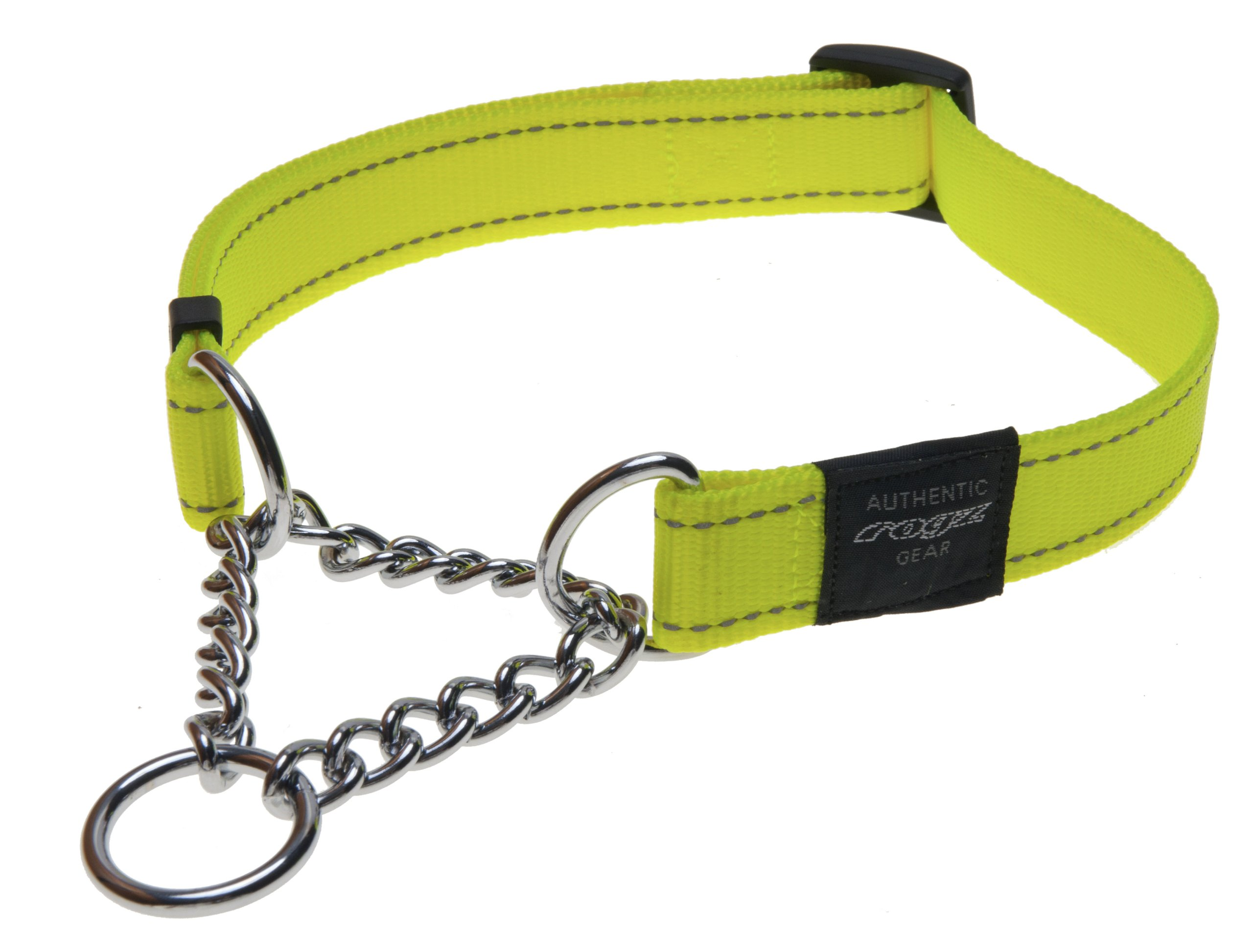 Reflective Nylon Choke Collar; Slip Show Obedience Training Gentle Choker for Large Dogs, Yellow