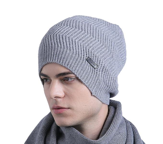 5694cfefa74 CACUSS Men s Classical 100% Australian Merino Wool Knit Beanie Hat - Winter  Warm Headwear(