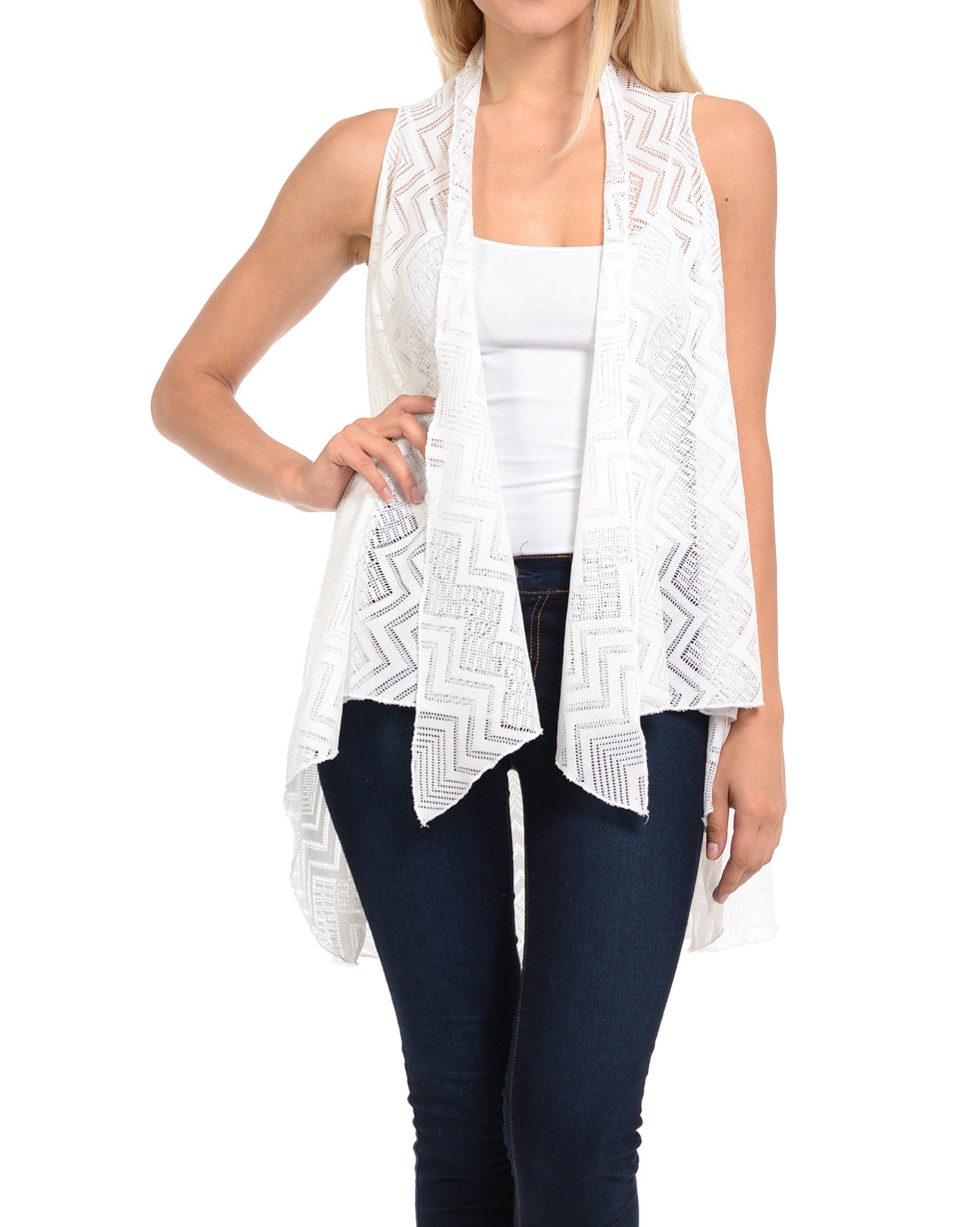 Basico Women's Open Asymmetrical Hem Print Chiffon Vest Cardigan (Large/ Xlarge, Eyelet#17 Off White)