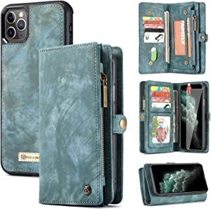 Zttopo iPhone 11 Pro Wallet Case, 2 in 1 Leather Zipper Detachable Magnetic 11 Card Slots Card Slots Money Pocket Clutch Cover with Screen Protector for 5.8 Inch iPhone Case (Blue-Green)
