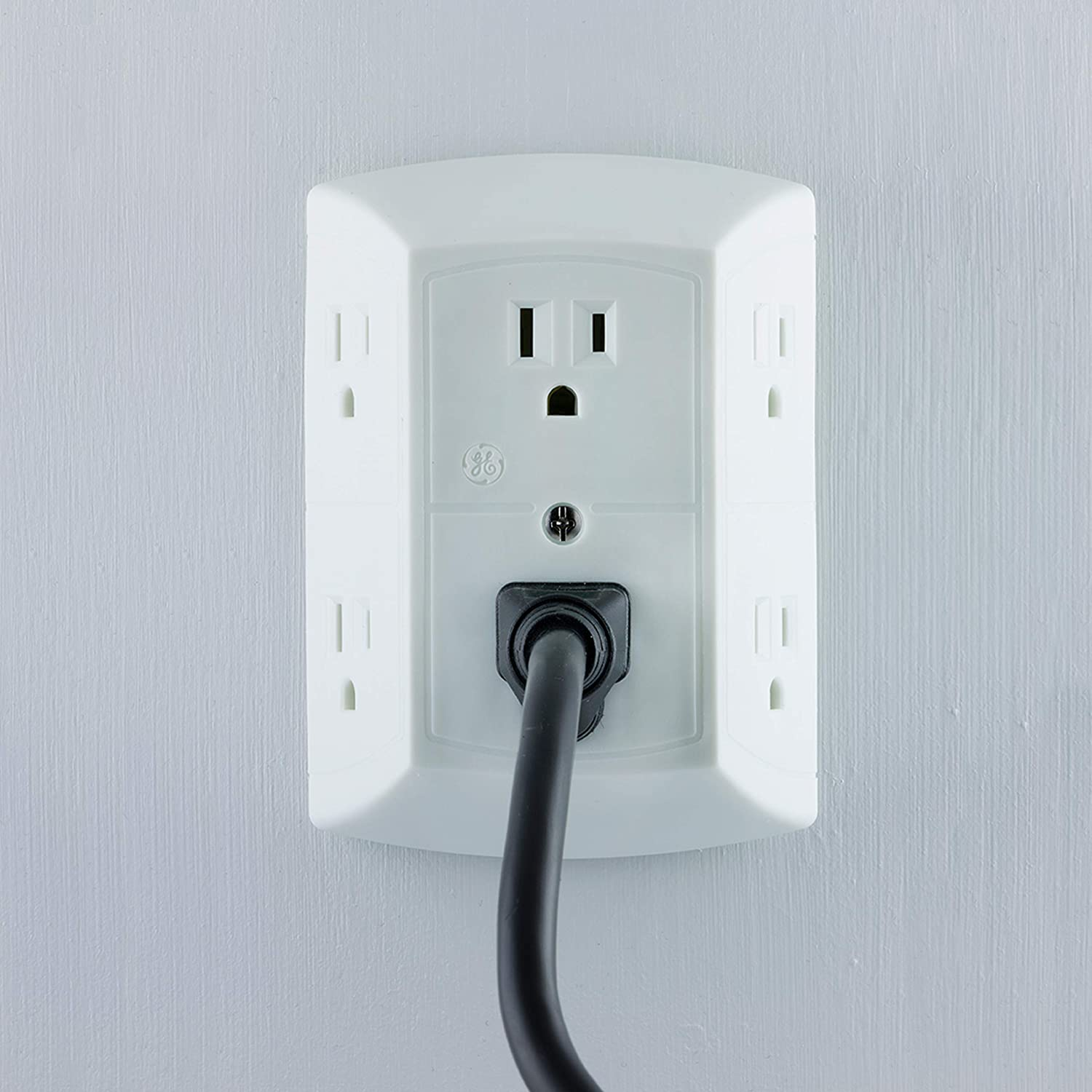 UL Listed Easy-to-Install 40222 2 Pack: GE Grounded 6-Outlet Wall Tap with Adapter Spaced Outlets