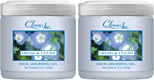 Clear Air Odor Absorber Gel - Air Freshener - Absorbs and Eliminates Odors in Bathrooms, Cars, Boats, RVs and Pet Areas - Made with Natural Essential Oils - 2 Pack (2 x 15 OZ) (Fresh & Clean)