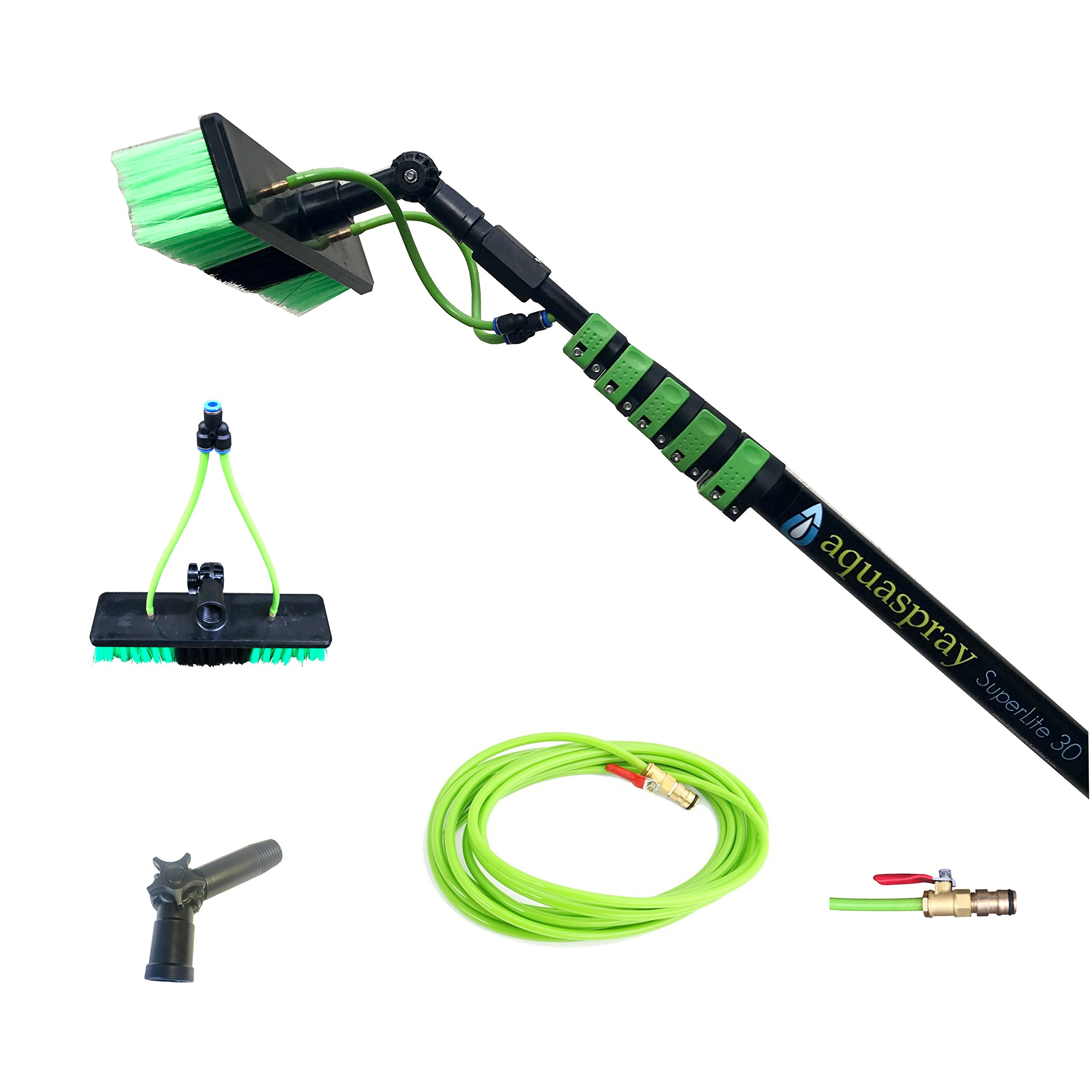 30 ft Water Fed Pole, Window & Solar Panel Cleaning Tool with Brush & Squeegee AquaSpray by EquipMaxx by EquipMaxx AquaSpray (Image #3)