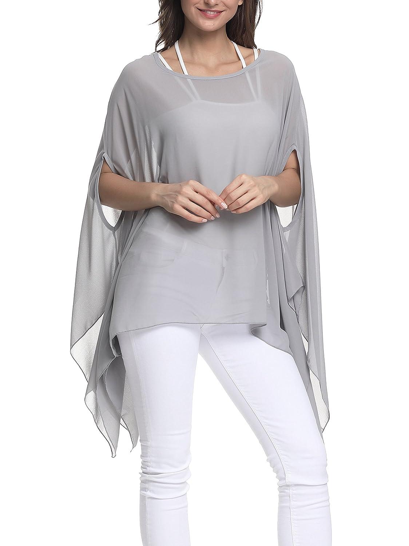 Inewbetter Womens Chiffon Caftan Poncho Tunic Top Cover Up Shirt Scarf Top Tunics