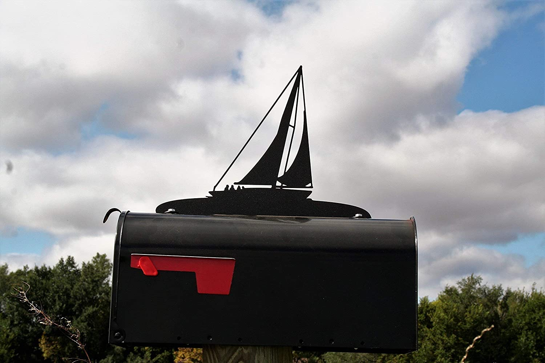 Sailboat Metal Mailbox Topper