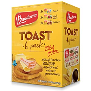Bauducco Original Toast, Whole Wheat & Multigrain, Delicious, Light & Crispy Toasted Bread, Breakfast toast, Great with Peanut Butter & Jelly, No Artificial Flavors, 30.06oz (Pack of 6)