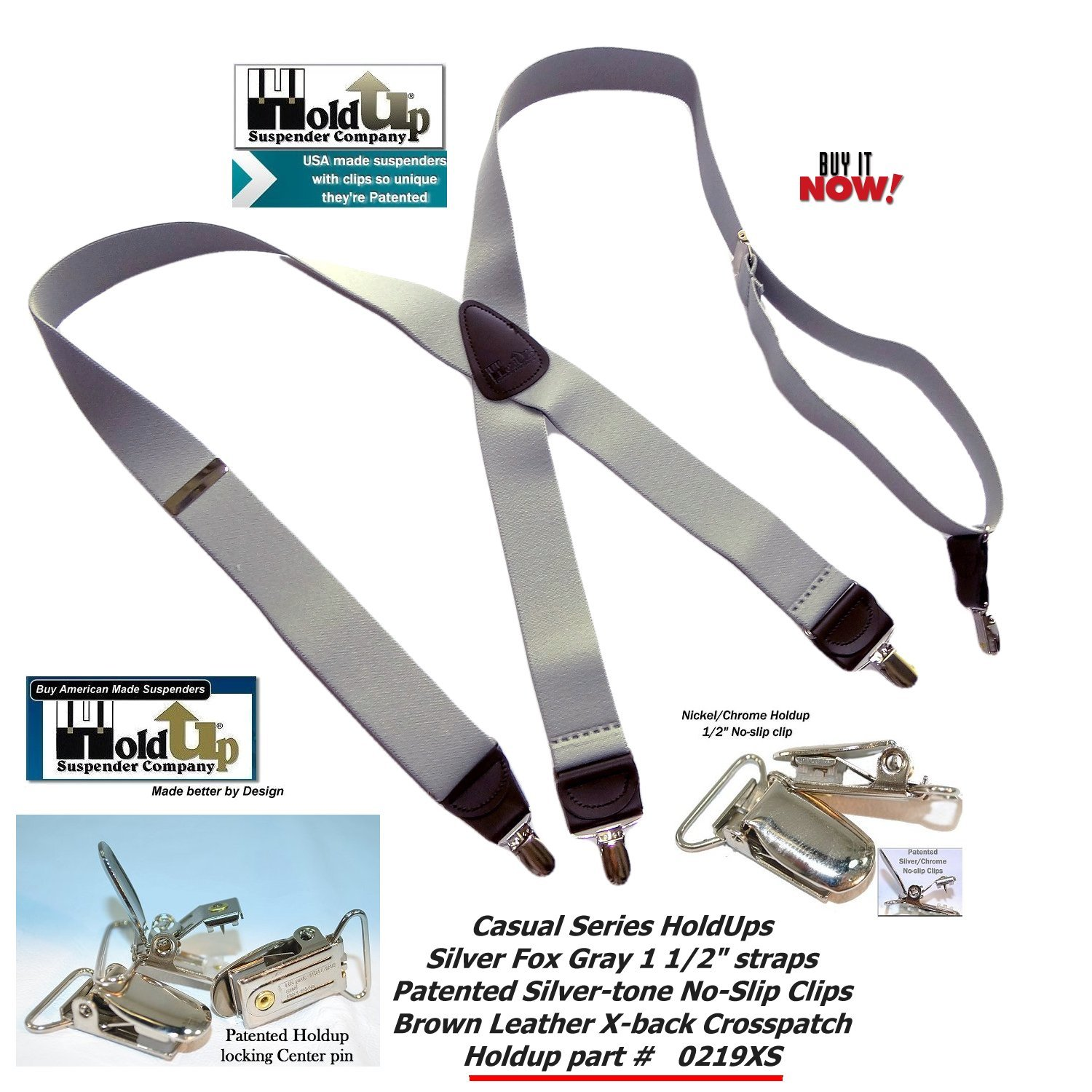 HoldUp Brand Silver Fox Gray X-back Suspenders are 1 1/2'' Wide with patented No-slip Silver-tone Clips by Hold-Up Suspender Co. (Image #6)