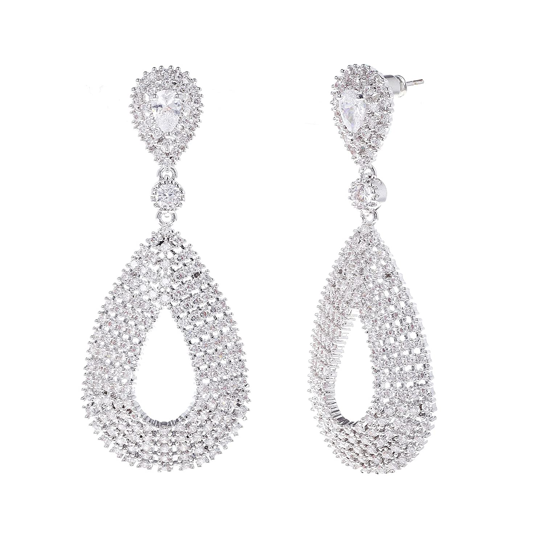 IH12 WIIPU Wedding Silver-Tone Teardrop Clear Austrian Crystal Earrings