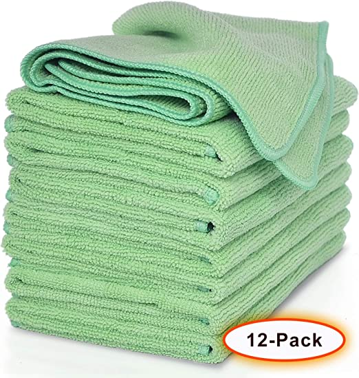 Car Lint-Free Streak-Free 12-Pieces Highly Absorbent VibraWipe Microfiber Cleaning Cloths Window VWM-12P-4Color for Kitchen 4 Colors