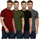 London Hills Solid Men 100% Pure Cotton Half Sleeve Round Neck Rust Red, Olive Green, Dark Blue, Grey, T-Shirts Combo (Pack of 4)