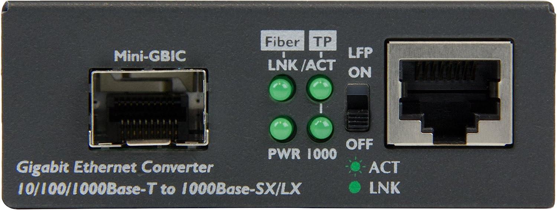 MCM1110SFP StarTech.com Fiber Media Converter Ethernet Media Converter IEEE 802.1q Tag VLAN LFP Supported 10//100//1000Mbps RJ45 Port