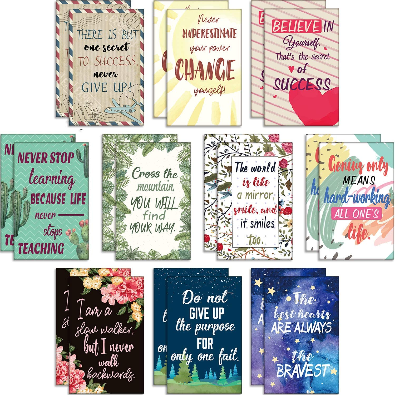 20 Pieces Floral Inspirational Notebooks Small Pocket Notepads Mini Cute Motivational Journal Dairy Notebook Positive Inspiring Notebook for Office School Home Travel Supplies, 10 Styles