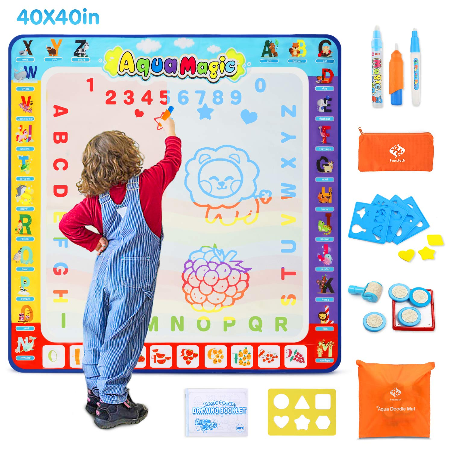 Fansteck Water Doodle Mat, Large Water Drawing Mat 40X40 inch, No Mess Aqua Magic Doodle Mat with 24 Accessories, Colorful Educational Toy and Ideal Gift for Toddlers, Boys, Girls Age of 2 3 4 5 6 7 8 by Fansteck