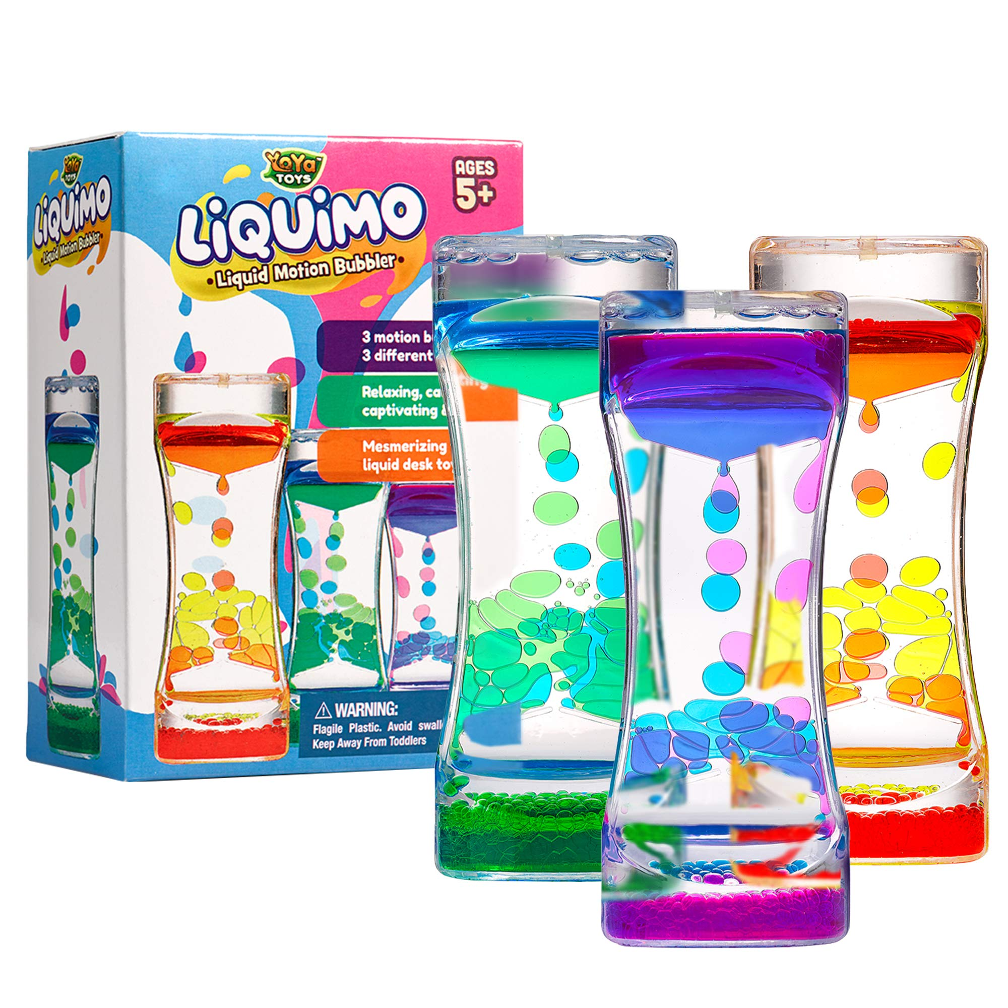YoYa Toys Liquimo - Liquid Motion Bubbler for Kids and Adults - 3-Pack - Hourglass Liquid Bubbler/Timer for Sensory Play, Fidget Toy and Stress Management - Cool Desk Décor by YoYa Toys