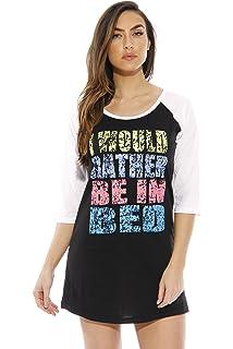 d3ad5b676d HOTOUCH Sleepwear Women s Nightgown Cotton Sleep Shirt Printed Short ...