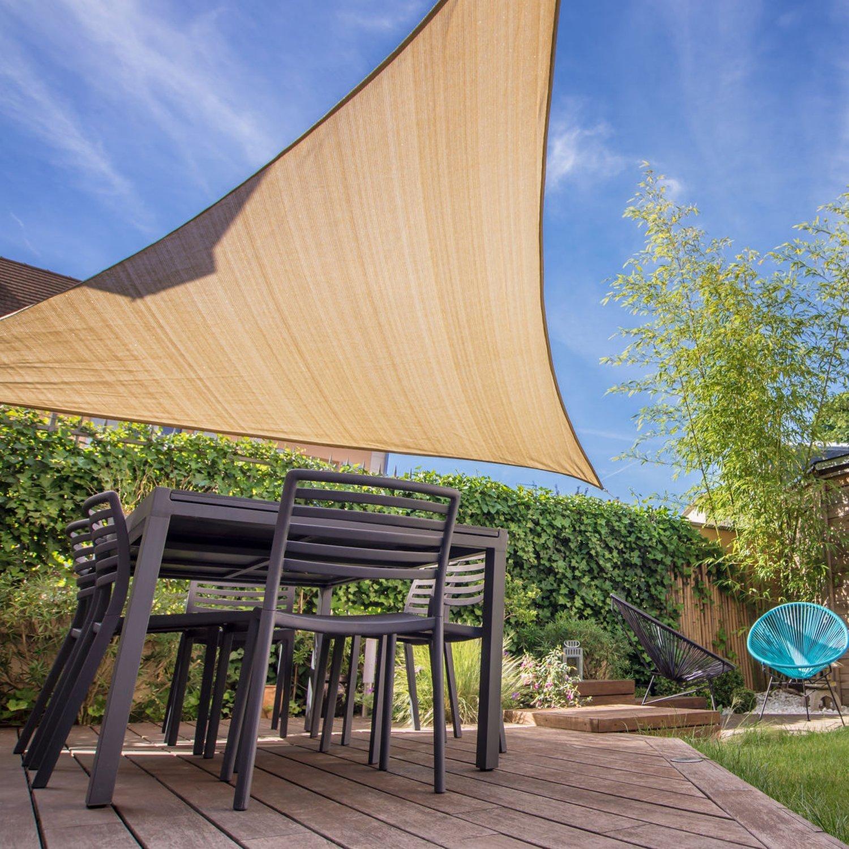 KHOMO GEAR Triangle Sun Shade Sail 20 x 20 x 20 Ft UV Block Fabric – Beige Tan