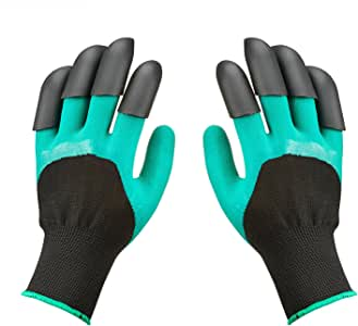 Garden Genie Gloves, Gardening Gloves Claws with Fingertips Waterproof Easy to Digging and Planting Safe for Rose Pruning Gloves Mittens Digging Gloves(1 Pairs)