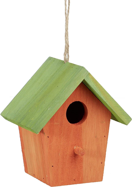 Relaxdays Casita para pájaros, Comedero Colgante de Aves, Adorno de jardín, Madera, 1 Ud, 16x15x11 cm, Naranja & Verde, Naranja/Verde