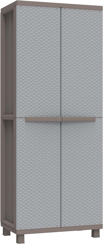 Terry J Rattan 368 Armario 2 Puertas con una estanteria Interna con 4 fijos. Capacidad máxima del Estante: 10 kg distribuidos de Forma Uniforme, Gris, 68x37,5x170 cm