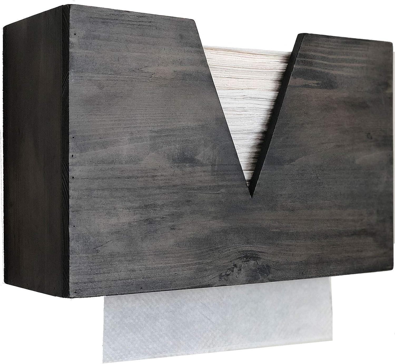 Countertop Wood Paper Towel Dispenser Wall Mount, Multifold Trifold Paper Towel Dispenser, Hand Paper Towel Dispenser for Office, Bath, Kitchen, Tissue Dispenser Countertop or Wall Mount (Grey)