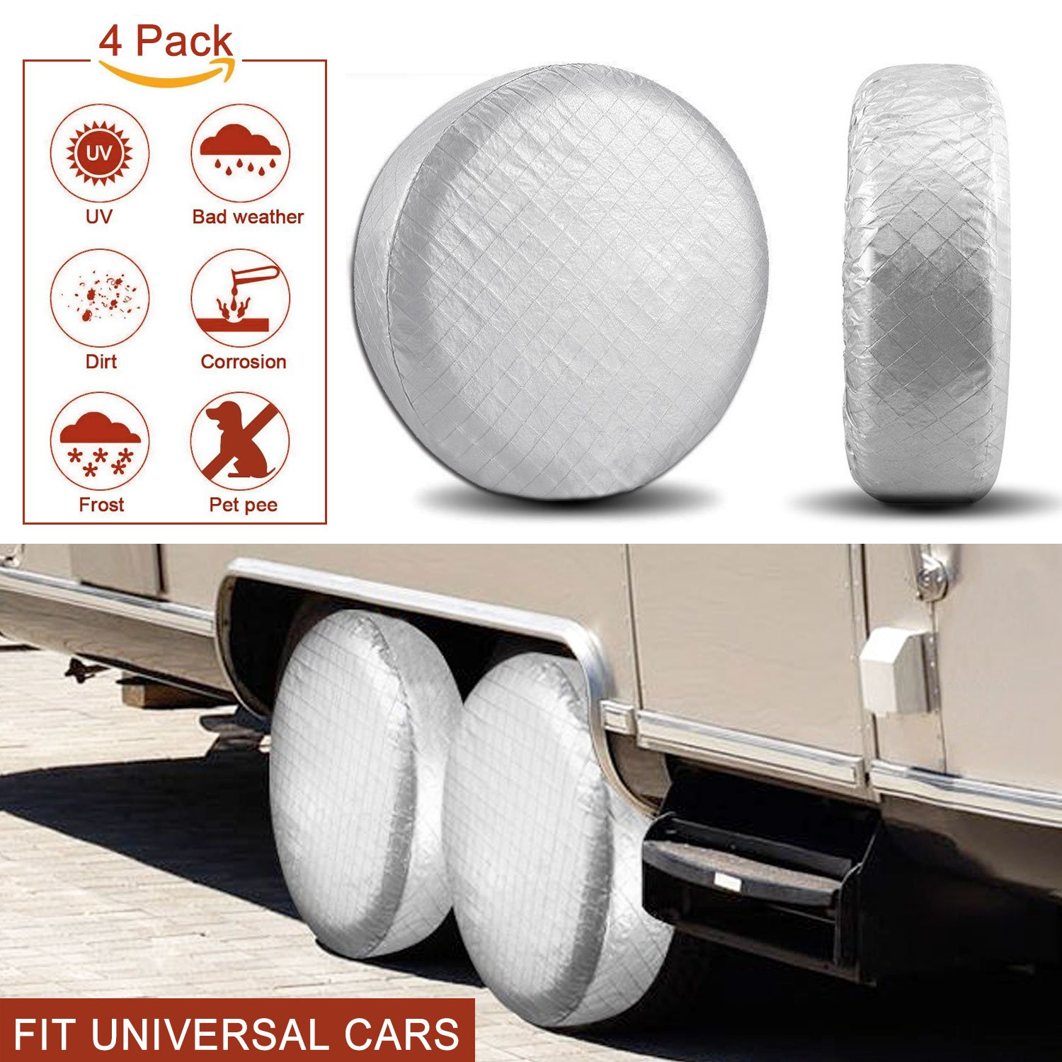 YBB Set of 4 for RV Wheel & Tire Covers Suit for Camper, Travel Trailer Tire Covers, Fits 33'' to 35'' Tire Diameters, Weatherproof, Dust, Waterproof, Sun Tire Protectors (33-35 inches)