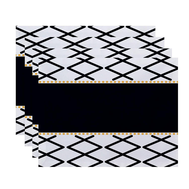 Geometric Print Placemat 18x14 Orange E by design PT4G788OR1 Knot Fancy