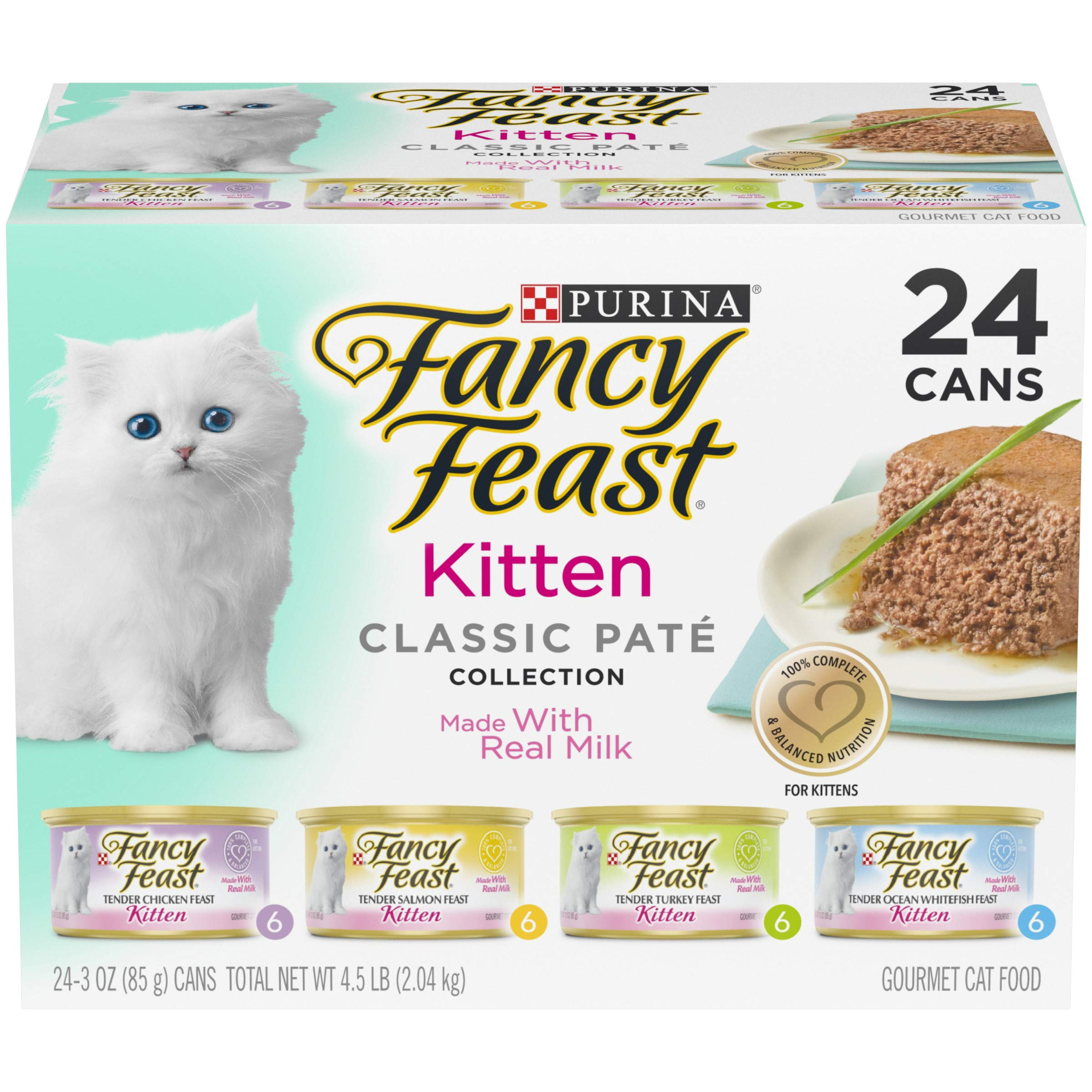 Purina Fancy Feast Grain Free Pate Wet Kitten Food Variety Pack, Kitten Classic Pate Collection, 4 flavors – (24) 3 oz. Boxes