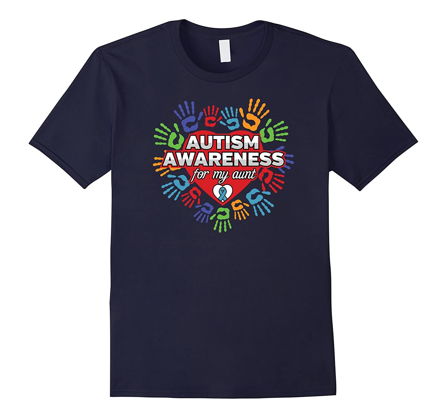 Autism Awareness for my Aunt Colored Hands T-shirt-CD
