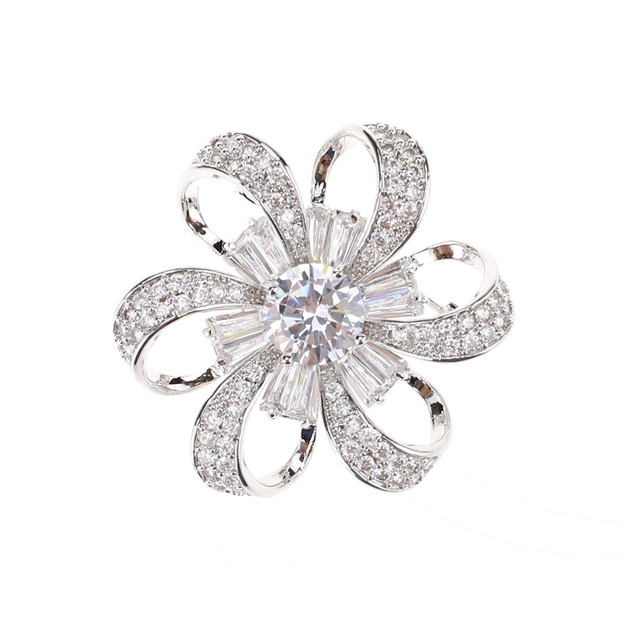 SHINYTIME Women's Zircon Hex Floral Shape Fashion Handmade Brooch Pin with Clear Diamond for Gifts