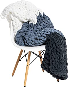 "Large Chunky Knit Throw Blanket - 50""x60"" Handmade Premium Chenille Yarn - Soft and Cozy for Bed, Couch, Chair, Home Décor - (Dark Grey, Light Grey, White) by Mikia"