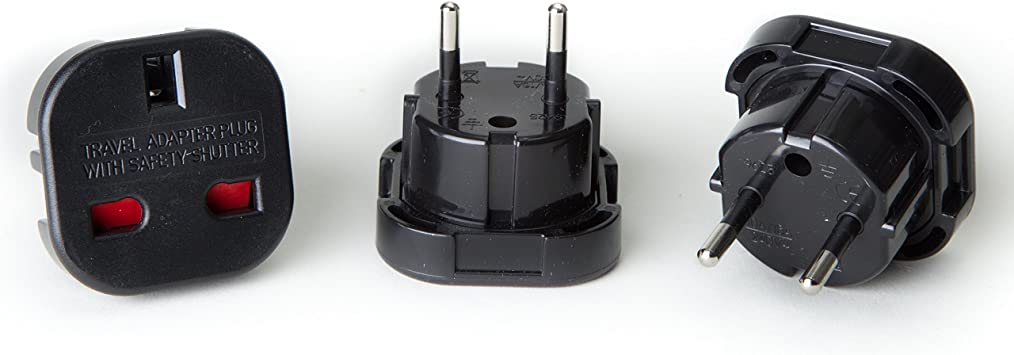 3 Pack Orei GP-021 UK 3-Pin To Schuko European 2-Pin Grounded Travel Adapter