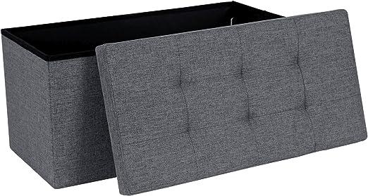 Songmics Ottoman Linen Fabric Folding Storage Footstool Versatile Space Saving 76 X 38 X 38 Cm Dark Grey Lsf84gyz