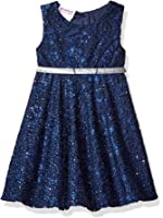 Blueberi Boulevard Baby Girls' Lace and Glitter Belted Holiday Dress, Navy, 6/9 Months